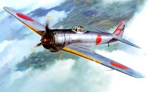 Picture the sky, figure, art, army, Japanese, WW2, Nakajima Ki-43 Hayabusa, (Type 1), single-seat fighter