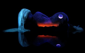 Picture BACKGROUND, BODY, GIRL, NATURE, HAIR, MOUNTAINS, HORIZON, The SKY, NIGHT, BLACK, The MOON, STARS, REFLECTION, …