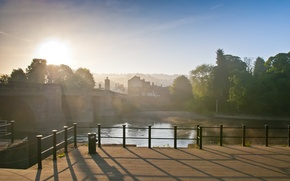 Picture bridge, the city, river, morning