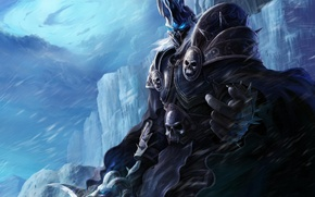 Picture cold, ice, winter, sword, armor, warcraft, wow, world of warcraft, lich king, Lich king, of ...