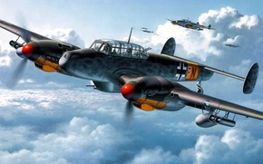 Picture the sky, fighters, aircraft, Messerschmitt, Bf.110, Wargaming.net, heavy, World of Warplanes, strategic, twin-engine