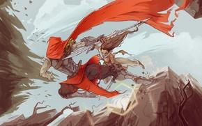 Picture girl, weapons, fiction, battle, warrior, art, cloak