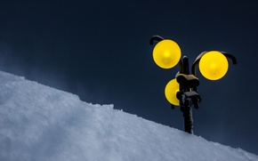 Picture winter, snow, lamp post