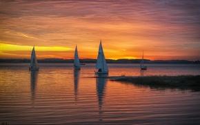 Picture sunset, lake, sailboats