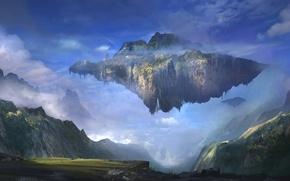 Picture landscape, mountains, island, art, flying, Sergey Zabelin