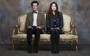 Picture look, girl, wall, actress, actor, floor, male, tights, red, couch, Doctor Who, Doctor Who, leather ...