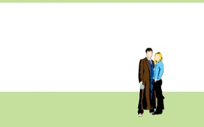 Picture girl, art, male, Doctor Who, Doctor Who, Tenth Doctor, Tenth Doctor, Rose Tyler, Rose Tyler