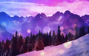 Picture trees, mountains, nature, glare, hills, widescreen, space, wallpaper, widescreen, background, full screen, HD wallpapers, widescreen, …