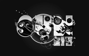 Wallpaper black and white, circles, design