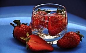 Wallpaper water, strawberries, strawberry, berry, glass