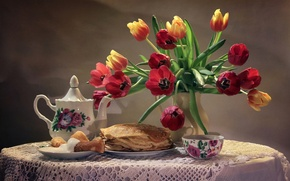 Wallpaper kettle, sour cream, pancakes, still life, bouquet, Cup, tulips