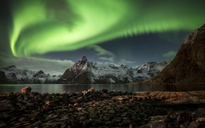Picture night, Northern lights, Norway, The Lofoten Islands