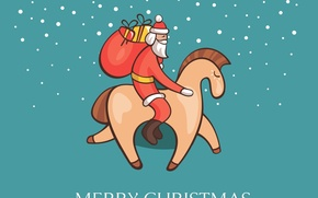 Wallpaper Santa Claus, gifts, new year, snow, horse, Christmas