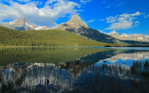Picture forest, the sky, clouds, mountains, lake, reflection