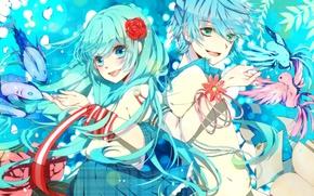 Picture girl, fish, flowers, birds, art, guy, vocaloid, Vocaloid, rich colors