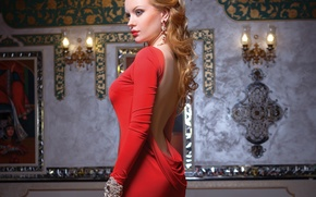 Picture girl, decoration, back, makeup, profile, red dress
