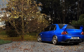 Picture forest, mitsubishi, japan, blue, jdm, tuning, lancer, evolution, evo