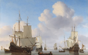 Picture sea, water, clouds, ships, boats, sails, calm, flags, Navy, Netherlands, Willem van de Velde the …