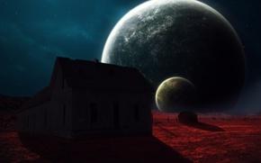 Picture space, house, planet, art, abikk