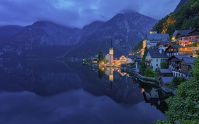 Picture forest, mountains, lake, shore, home, Austria, Hallstatt