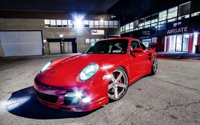 Picture Red, Auto, Night, Porsche, Red, Supercar, 997TT