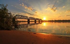 Picture bridge, river, dawn, Yaroslavl, Volga
