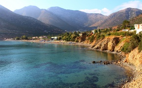 Picture sea, beach, mountains, nature, home, Greece, the sky., Greece