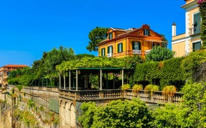 Picture the sky, trees, rock, wall, Villa, home, Italy, the bushes, Sorrento