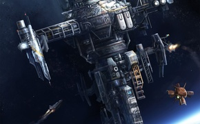 Picture ship, planet, satellite, station, art