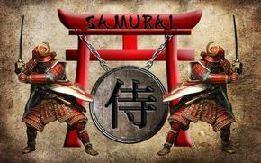Picture katana, armor, chain, characters, helmet, two, stand, samurai, samurai, torii, wakizashi, 3D, torii gate