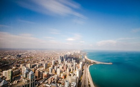 Picture beach, the sky, clouds, the ocean, road, skyscrapers, horizon, day, Chicago, USA, USA, Chicago, clear, …