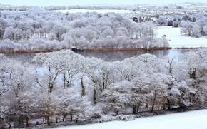 Picture river, winter, snow, village