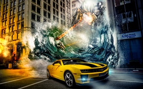 Picture machine, water, the city, robot, Chevrolet, Camaro, transformers