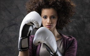Picture woman, boxing, look, gloves