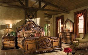 Picture room, bed, chairs, bedroom, chest, lamps
