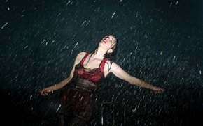 Picture girl, rain, the shower