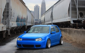 Picture volkswagen, golf, blue, tuning, train, germany, low, stance, mk4