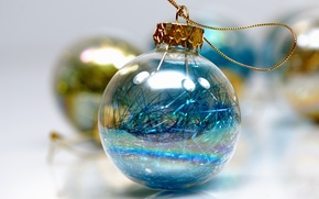 Picture the rain, glass, yellow, holiday, blue, Shine, new year, ball, white background, gold plated, Christmas …
