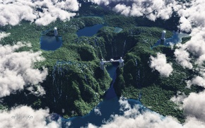 Picture clouds, hills, view, ball, height, tower, statue, waterfalls, river, lake, render