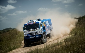 Picture sand, the sky, clouds, race, field, speed, dust, turn, Russia, the bushes, speed, KAMAZ, kamaz, …