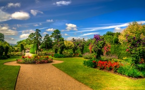 Picture the sky, the sun, clouds, trees, flowers, lawn, garden, Scotland, track, the bushes, beds, Erddig …