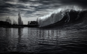 Picture the sky, storm, element, wave, yacht