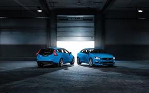Picture lamp, blue, lights, garage, sedan, volvo, Volvo, universal, v60, B60