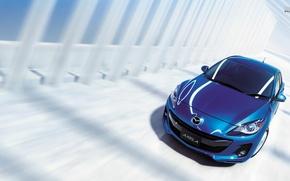 Picture car, blue, Mazda, japan, blue, Axela