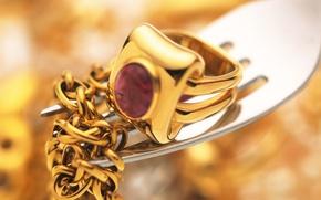 Picture gold, ring, decoration, plug, chain, Rubin