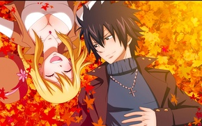 Wallpaper autumn, leaves, girl, joy, smile, anime, pair, guy, tale of fairy tail, Fairy Tail, Lucy ...