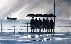 Wallpaper sea, picture, people, watercolor