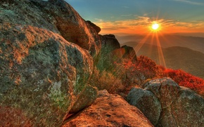 Picture sunset, stones, The sun