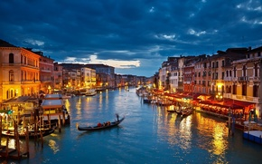 Picture clouds, lights, home, boats, the evening, channel, Venice, gondola