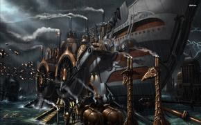 Picture water, night, Dolphin, rain, ship, art, steampunk, ship